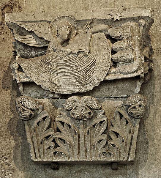 Los Reyes Magos despertando, relieve de un capitel, Catedral de Autun