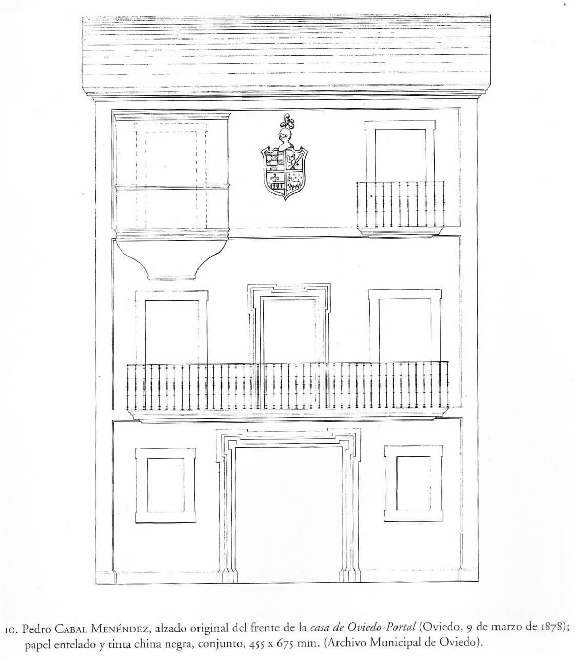 Alzado original de la Casa de Oviedo-Portal por Pedro Cabal (1878)