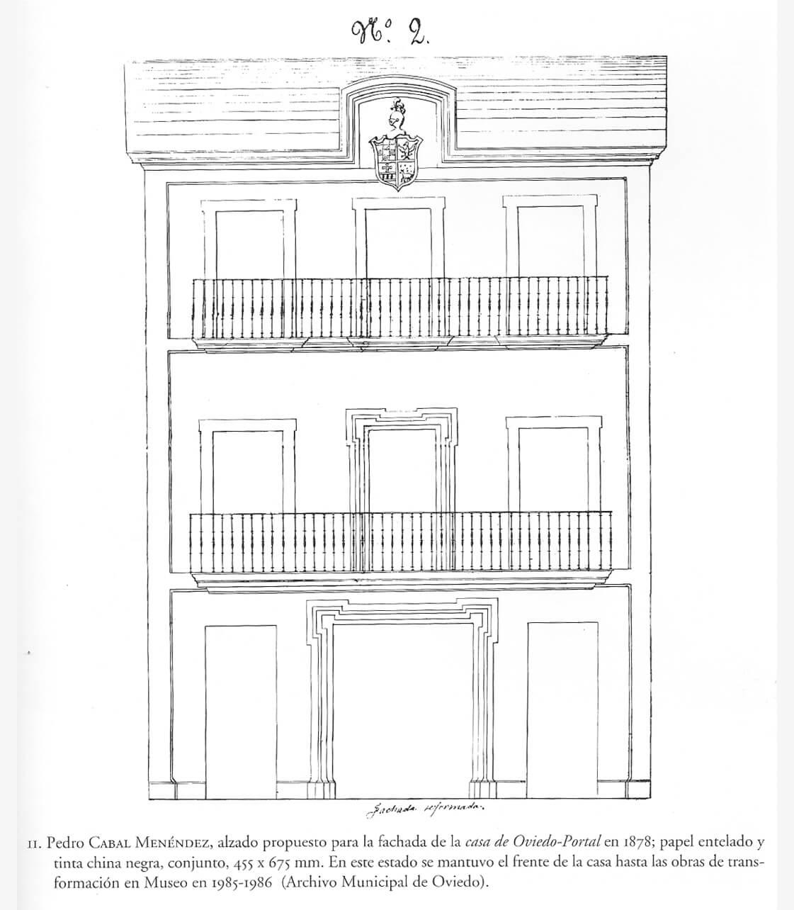 Alzado propuesto de la Casa de Oviedo-Portal por Pedro Cabal (1878)