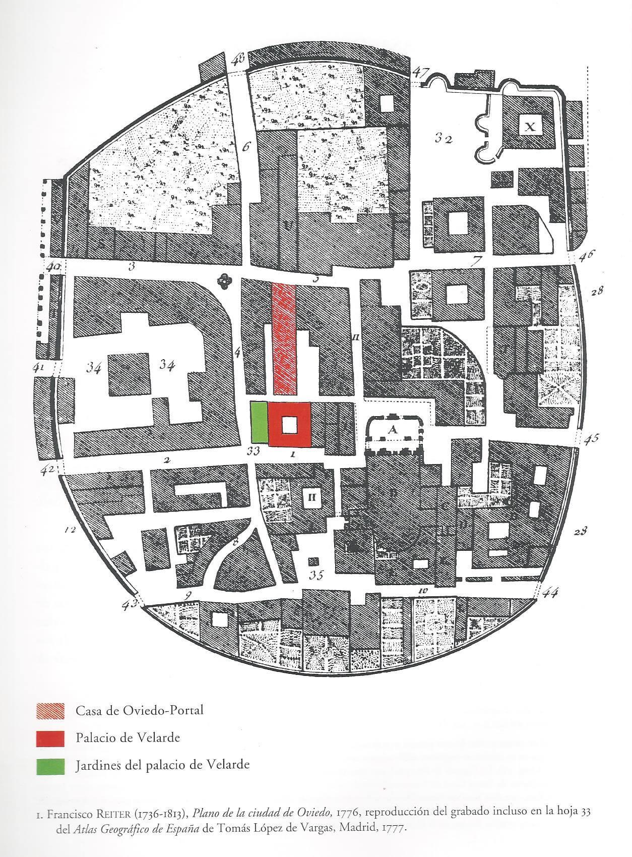 Plano de Oviedo por F. Reiter (1776)