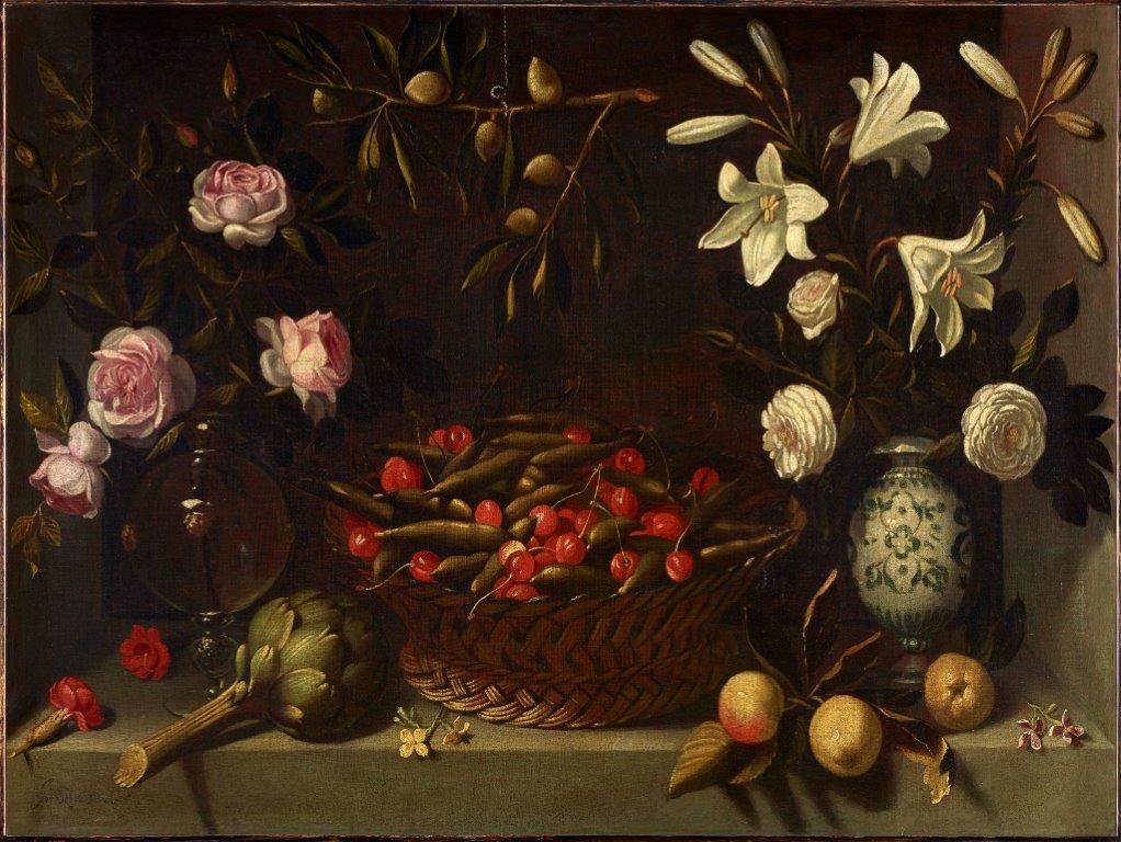 Bodegón con frutas, alcachofa y flores o Cesta de guisantes y cerezas con floreros