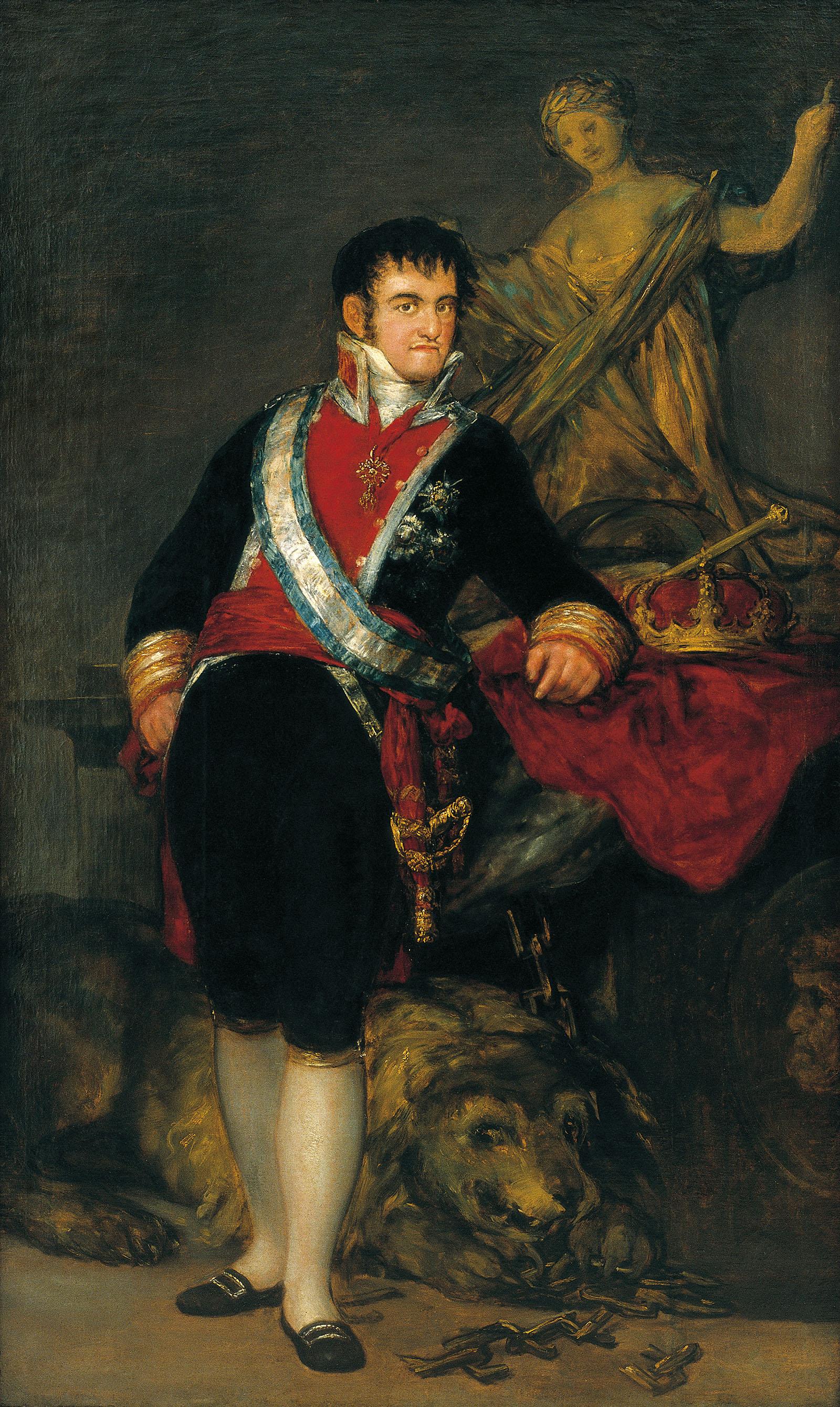 Fernando VII realizado por Francisco de Goya en 1814.