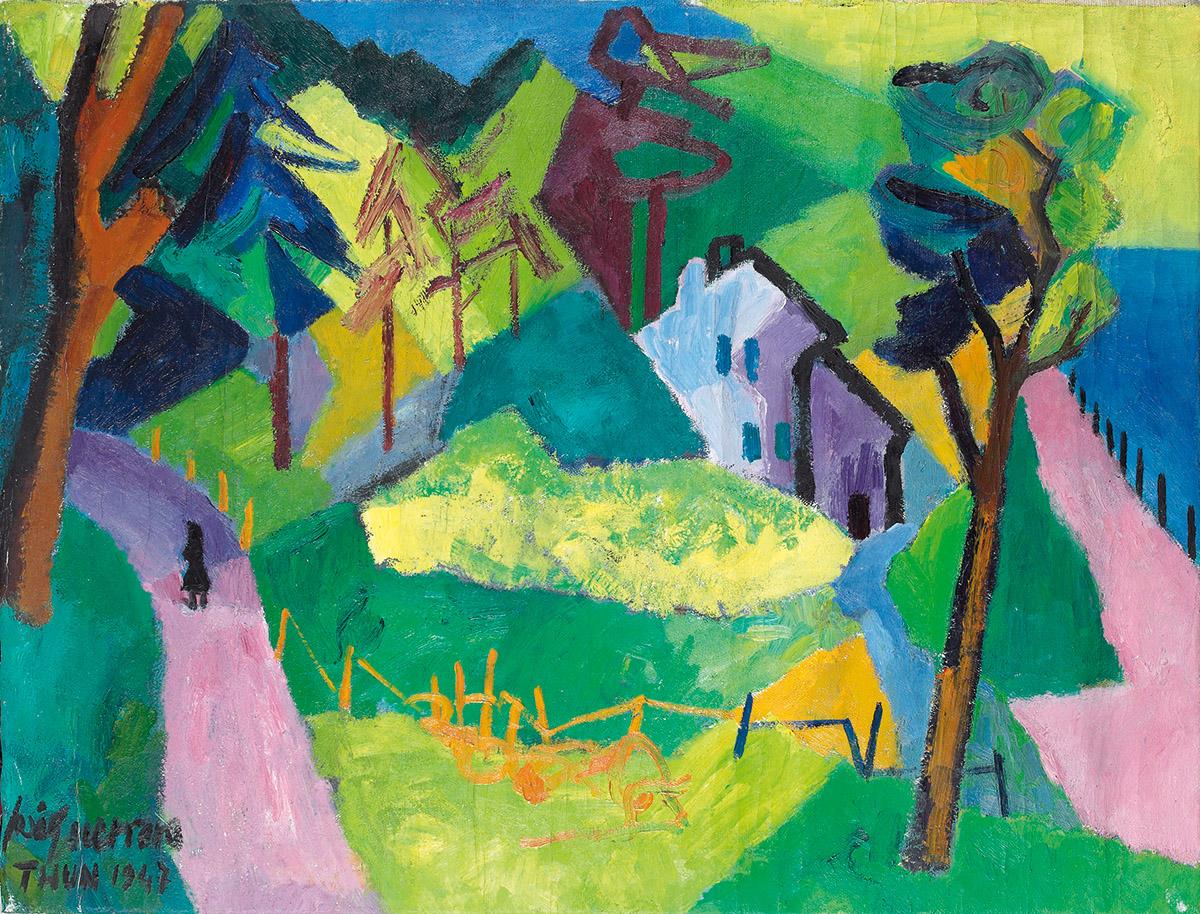 José Guerrero. Paisaje del lago de Thun, 1947. Óleo sobre lienzo. 60 x 80 cm . Colección particular, Madrid ©José Guerrero, VEGAP, Segovia, 2019