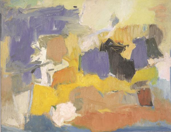 3. Esteban Vicente. Sin título, 1958. Óleo sobre lienzo. 76,2 x 96,8 cm. Museo de Arte Contemporáneo Esteban Vicente. Segovia