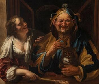 EL BUFÓN, LA MUJER Y EL GATO, C. 1641-1645, DE JACOB JORDAENS