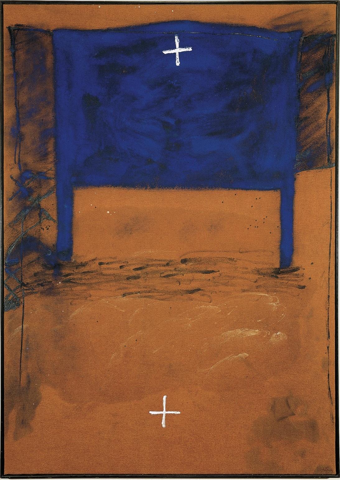 (Tàpies) Blau i dues creus (1980). Antoni Tàpies. Colección Telefónica.